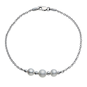 9ct white gold cultured freshwater 3 pearl bracelet - Product number 1655361