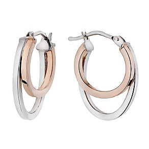 9ct white & rose gold double creole earrings - Product number 1655426