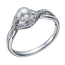 9ct white gold cultured freshwater pearl & diamond ring - Product number 1655450