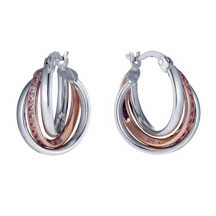 Sterling silver & 9ct rose gold triple twist creole earrings - Product number 1655582