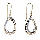 9ct gold two colour cubic zirconia teardrop drop earrings - Product number 1655922