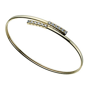 9ct gold cubic zirconia bar bangle - Product number 1656104