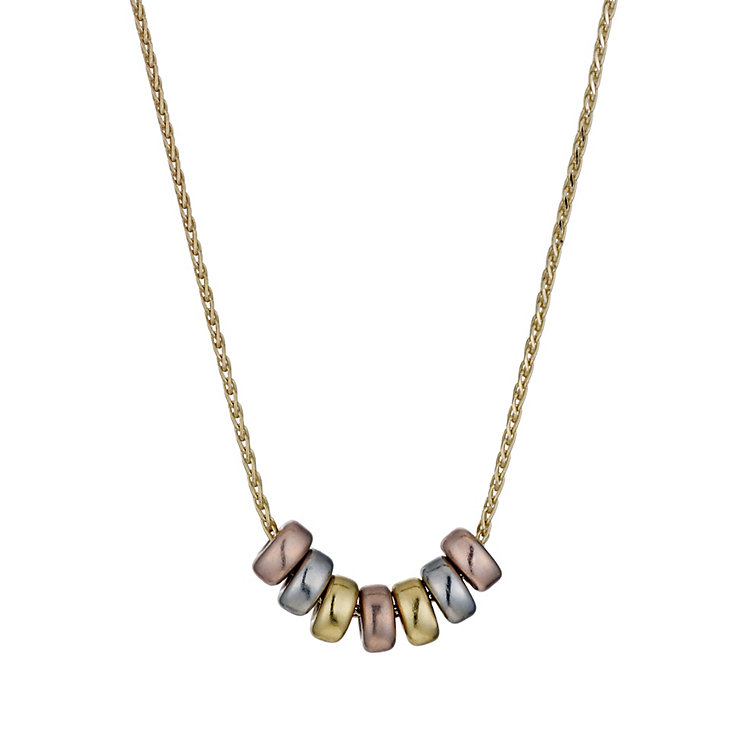 9ct gold three colour bead necklace - Product number 1656112