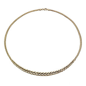 9ct gold graduated flat spiga collarette necklace - Product number 1656139