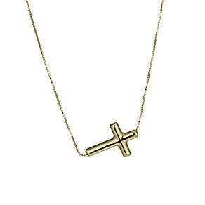 9ct gold sideways cross necklace - Product number 1656163