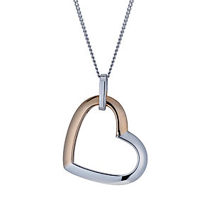 Sterling silver & 9ct rose gold heart pendant - Product number 1656228