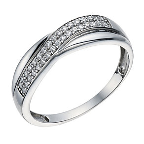 9ct white gold pave set cubic zirconia crossover ring - Product number 1656430