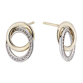 9ct gold & white gold double circle stud earrings - Product number 1656465