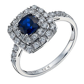 9ct white gold created sapphire & cubic zirconia set ring - Product number 1656481