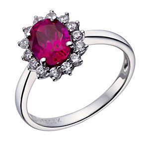 9ct white gold created ruby & cubic zirconia cluster ring - Product number 1656627