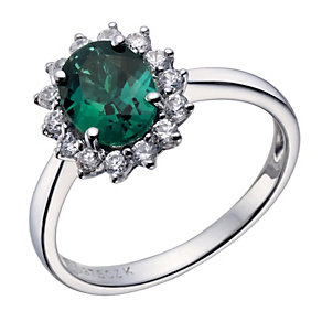 9ct white gold created emerald & cubic zirconia cluster ring - Product number 1656759