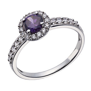 9ct white gold purple cubic zirconia round vintage ring - Product number 1657011