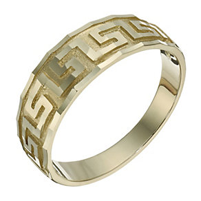 9ct yellow gold Greek key ring - Product number 1657275