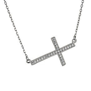 Silver cubic zirconia sideways cross necklace - Product number 1660543