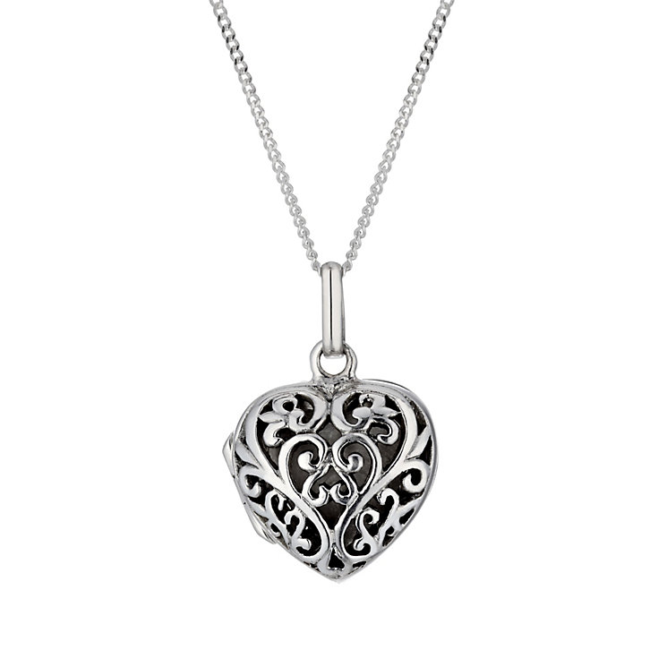 Sterling silver filigree heart locket - Product number 1661086