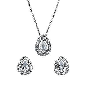 Sterling silver cubic zirconia pendant & stud earrings set