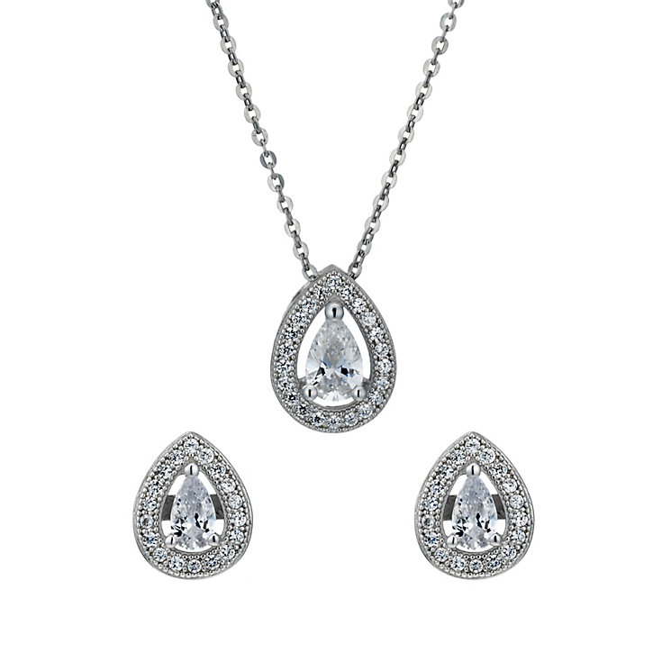 sterling silver cubic zirconia pendant stud earrings set