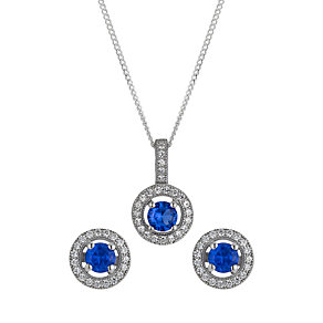 Sterling silver blue cubic zirconia stud earrings & pendant - Product number 1661124