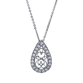 Sterling silver cubic zirconia filigree pear shaped pendant - Product number 1661159