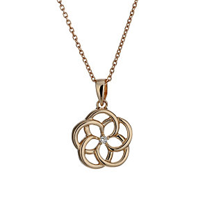 Rose gold-plated sterling silver flower pendant - Product number 1661337
