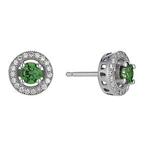 Silver green cubic zirconia stud earrings - Product number 1661353