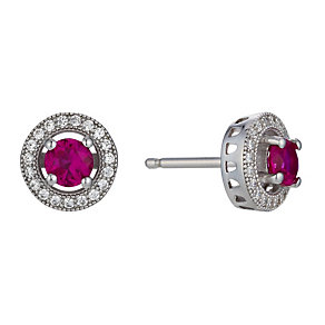 Silver red cubic zirconia stud earrings - Product number 1661396