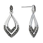 Sterling silver marcasite drop earrings - Product number 1661590