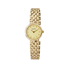 Accurist Gold Ladies' 9ct Gold Diamond Set Bracelet Watch - Product number 1661620