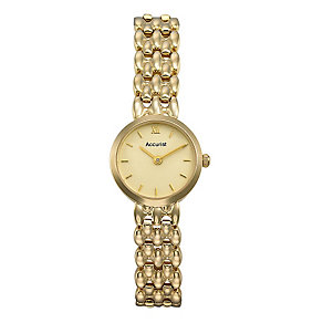 Accurist Gold Ladies' 9ct Gold Champagne Dial Bracelet Watch - Product number 1661787