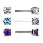 Sterling silver 3 colour 4mm cubic zirconia 3 stud earrings - Product number 1661825