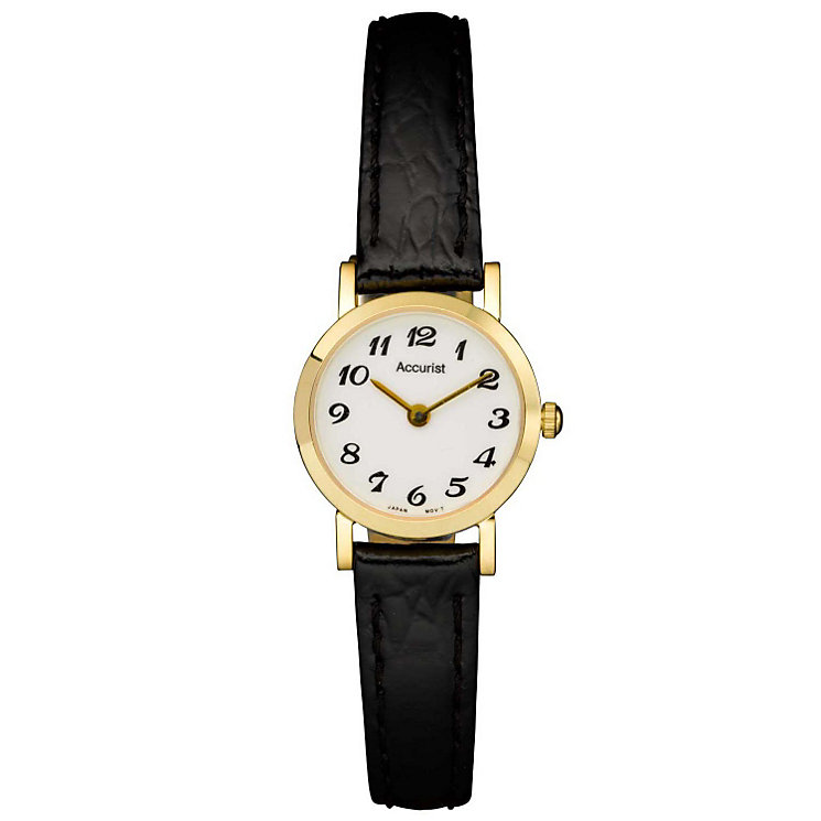 Accurist Gold Ladies' 9ct Gold Black Leather Strap Watch - Product number 1662139