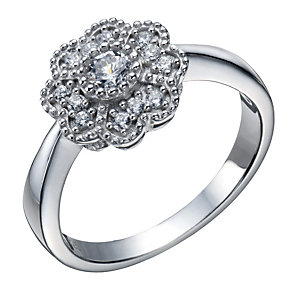 Sterling silver cubic zirconia flower ring - Product number 1662147