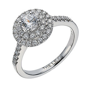 Leo Diamond 18ct white gold 0.88ct I-I1 double halo ring - Product number 1664085