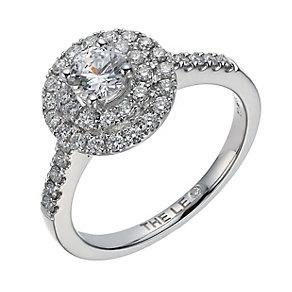 Leo Diamond 18ct white gold 0.88ct I-I1 double halo ring - Product number 1664085