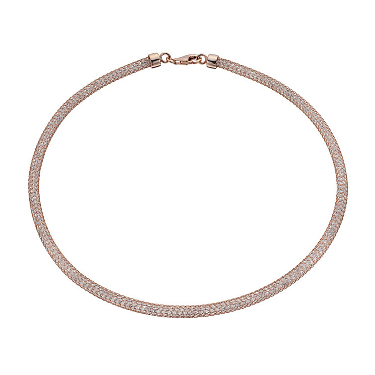 Rose gold-plated silver crystal sparkle necklace - Product number 1664417