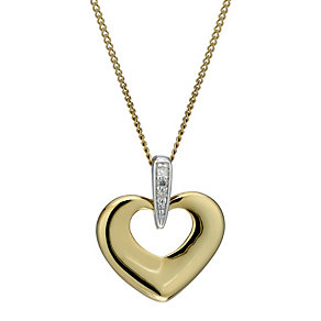 9ct Gold Diamond Heart Pendant - Product number 1664492
