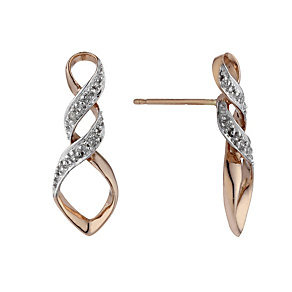 9ct Rose Gold Diamond Twist Stud Earrings - Product number 1664514