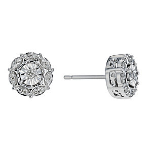 9ct White Gold 0.11 Carat Diamond Stud Earrings - Product number 1664530