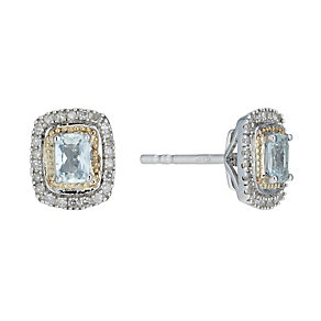Silver & 9ct Gold Aquamarine 0.13 Carat Diamond Earrings - Product number 1664557
