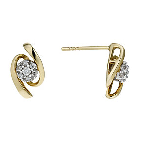 9ct Gold 10 Point Diamond Wave Stud Earrings - Product number 1664573