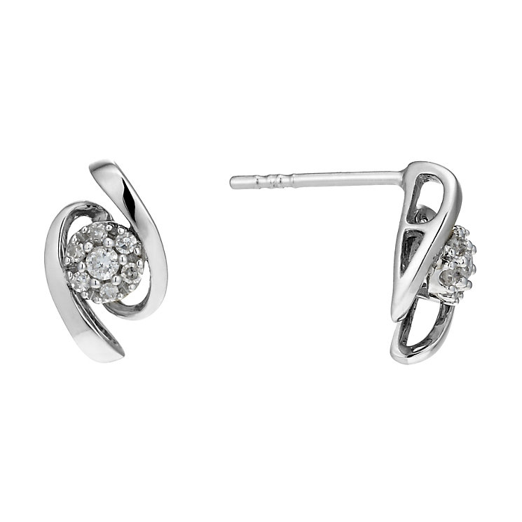 9ct White Gold 10 Point Diamond Wave Stud Earrings - Product number 1664581