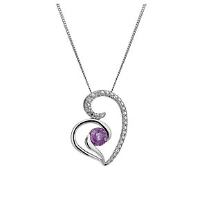9ct White Gold Pink Sapphire & Diamond Pendant - Product number 1664638