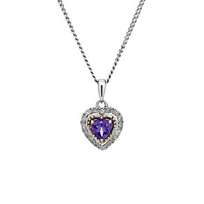 Sterling Silver & Rose Gold Amethyst & Diamond Pendant - Product number 1664646