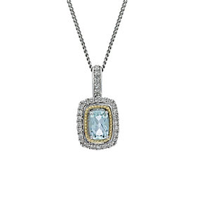 Silver & 9ct Gold Aquamarine 0.15 Carat Diamond Pendant - Product number 1664654