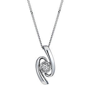 9ct White Gold Diamond Wave Pendant - Product number 1664670