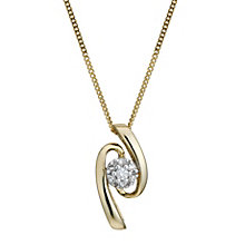 9ct Gold Diamond Wave Pendant - Product number 1664689