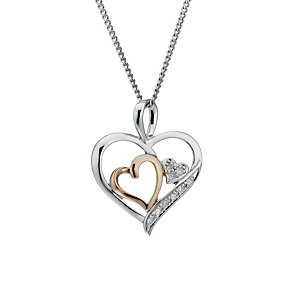 Sterling Silver & 9ct Rose Gold Diamond Heart Pendant - Product number 1664697