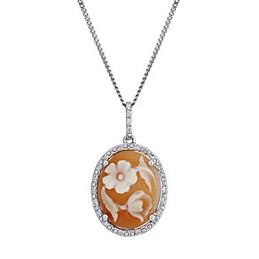 Sterling Silver Diamond Set Cameo Pendant - Product number 1664727