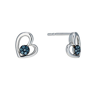 Sterling Silver Treated Blue Diamond Heart Stud Earrings - Product number 1664735