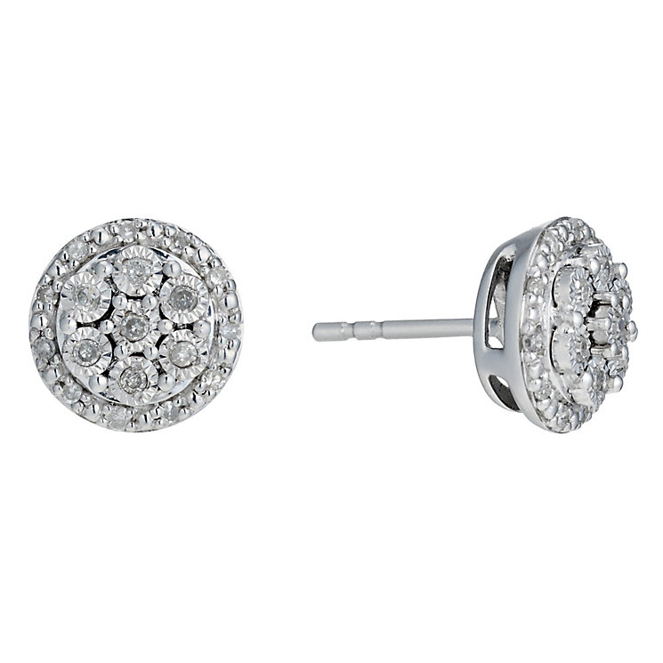 Sterling Silver 1/5 Carat Diamond Illusion Stud Earrings - Product number 1664743